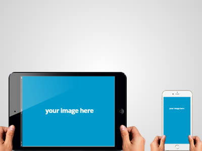 Free Hands Holding iPad and iPhone PSD Graphics