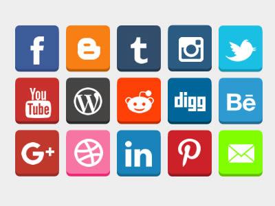 Free Flat 3D Social Buttons