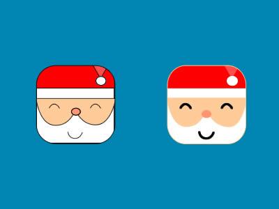 Free Rounded Santa Icons PSD